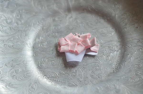 76 Baby Pink polka dot Flower Basket