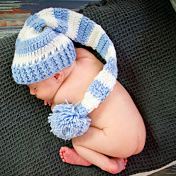 Finley in baby blue and white Our signature hat