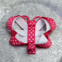 80 Pink Polka Dot Butterfly
